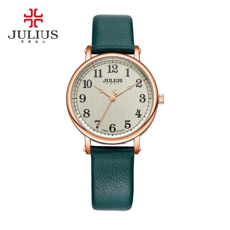 Новинка, женские часы, японский кварц, большое количество, изящные модные часы, платье, браслет, простая кожа, подарок на день рождения для девочек, коробка Юлий