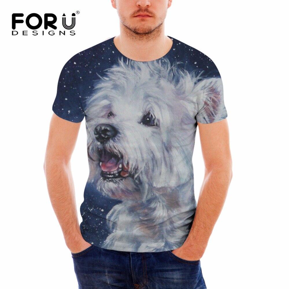 FORUDESIGNS, camiseta de manga corta con estampado de perros Schnauzer en 3D para hombres, camiseta divertida para hombre, camiseta informal de Fitness, camiseta Masculina