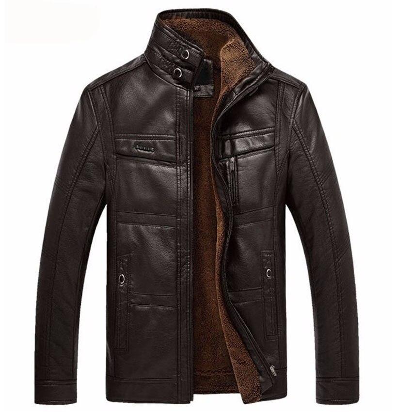 Man Padded Jacket Leather Jacket Men Coats 4XL Brand High Quality Outerwear Men Business Winter Faux Fur PU Male Jacket Fleece