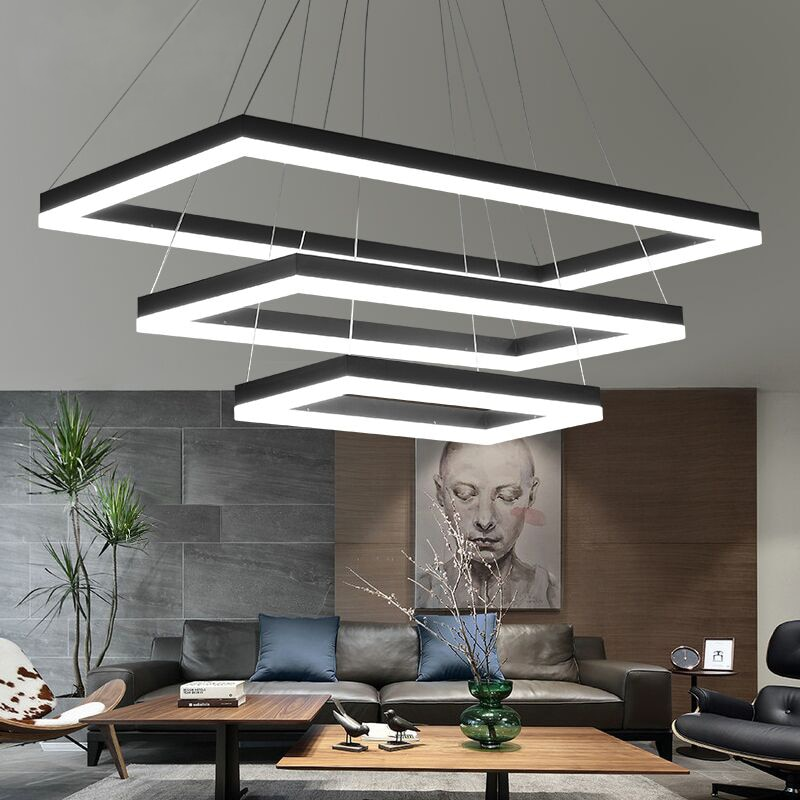 Rectangular Modern LED Pendant Lights Living Room Bedroom Dining Room Black/White/Brown Aluminum Home Deco Acrylic Pendant Lamp
