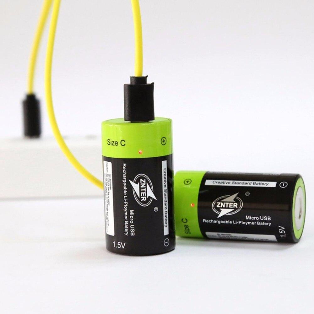 2 teile/los ZNTER Neue Ankunft 1,5 V 3000 mAh Batterien Reachargeable Lipo Batterie Wiederaufladbare A + grade C Größe Mikro USB Batterien