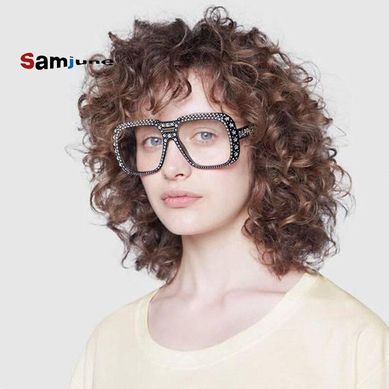 Samjune Luxury Lmitation Diamond Square Sunglasses Women Brand Cheap  Sun Glasses Ladies 2018 New Gr
