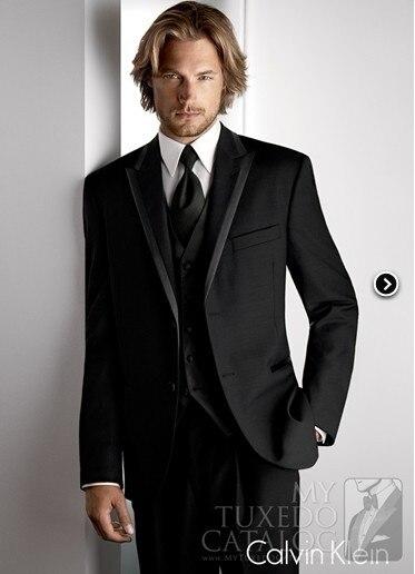 New Arrival Groom Tuxedo Black Groomsmen Peak Lapel Wedding/Dinner Suits Best Man Bridegroom (Jacket+Pants+Tie+Vest) B255