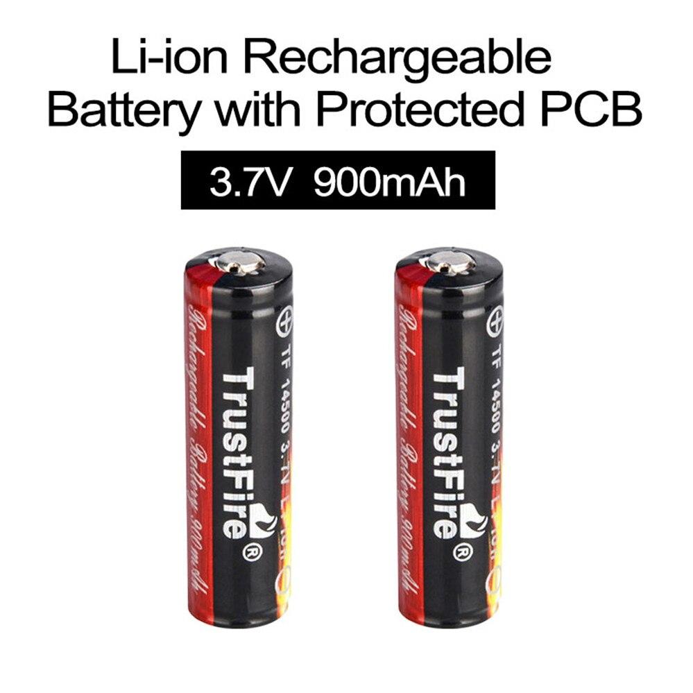 2 шт. TrustFire 3,7 V 900mAh 14500 литий-ионная аккумуляторная батарея литий-ионные аккумуляторы с защищенной печатной платой для светодиодный фонарик