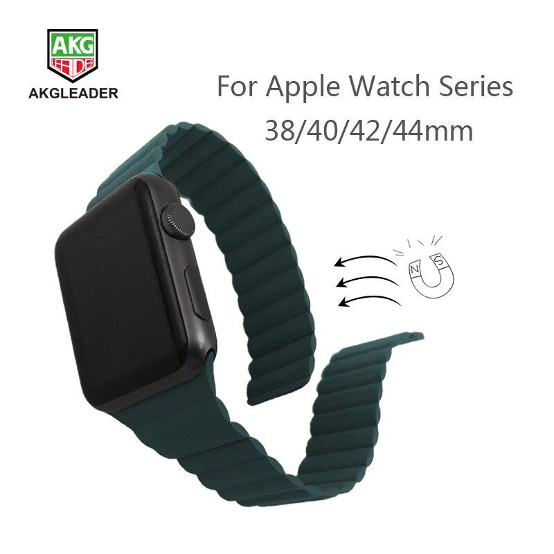 Mais novo pulseira de relógio para apple watch 4 5 40/44mm couro duplo fecho magnético pulseiras de pulso para apple series 1 2 3 pulseira 42mm