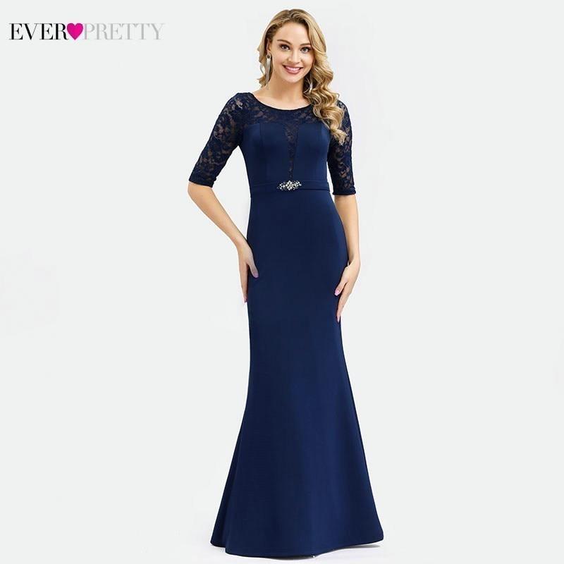 Elegant Navy Blue Mother Of The Bride Dresses Ever Pretty O-Neck Beaded Mermaid Lace Mother Dresses Vestido De Madrinha Kurti