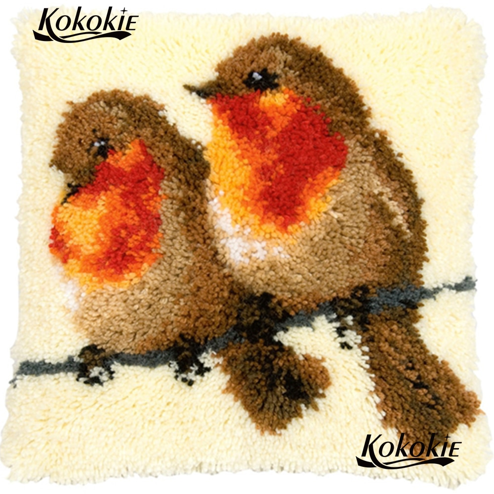 DIY carpet Crocheting Rug Yarn Needlework threads embroidery Latch Hook Rug pillow Kits cross stitch kits bird 3d cushion mat
