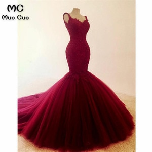 Real Elegant Burgundy Mermaid Evening Dresses Long Appliques Spaghetti Straps Prom Gown Tulle Formal Evening Party Dress