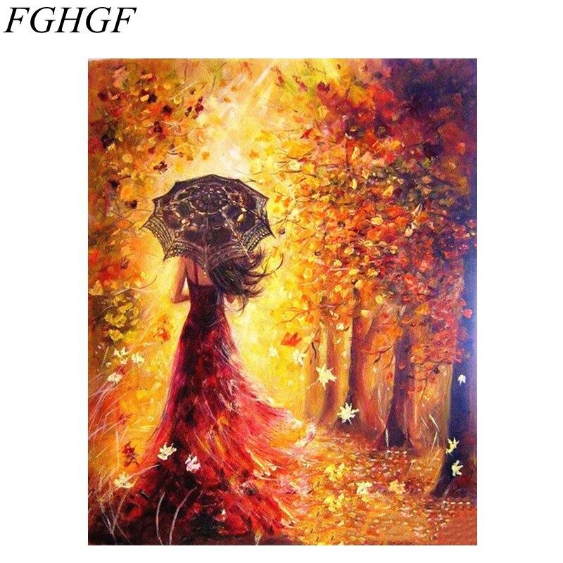 FGHGF Frameless Floresta menina Pintura DIY Por Números Kits Pintura Acrílica Por Números Presente Original Para Sala de estar Decoração de Casamento