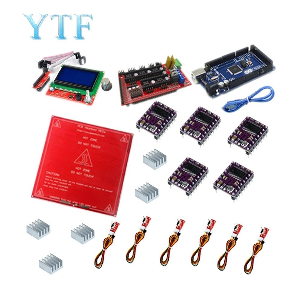 Envío Gratis rampas Reprap 1,4 Kit con Mega 2560 r3 + HeatBed mk2b + 12864 controlador LCD + DRV8825 + interruptor mecánico + Cables