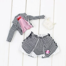 Outfits für Blyth puppe Schädel Rosa EIN set von taille cut Set von mantel und kurzen rock anzug für 1/6 azon BJD ICY DBS