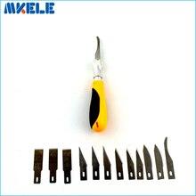 12 قطعة شفرات/مجموعة سكين نحت سبائك الصلب شفرة الخشب النقش قطع النحت سكين مشرط قطع PCB إصلاح لوحة الدوائر