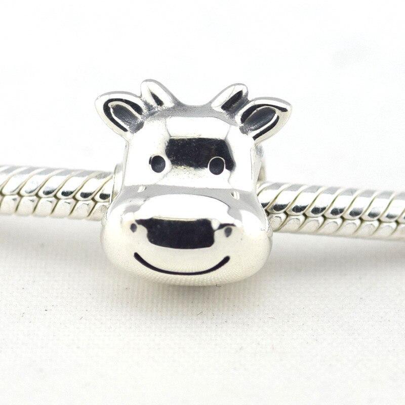 Novo 925 prata esterlina diy jóias sorrindo vaca charme contas caber prata charme pulseiras para feminino & masculino jóias