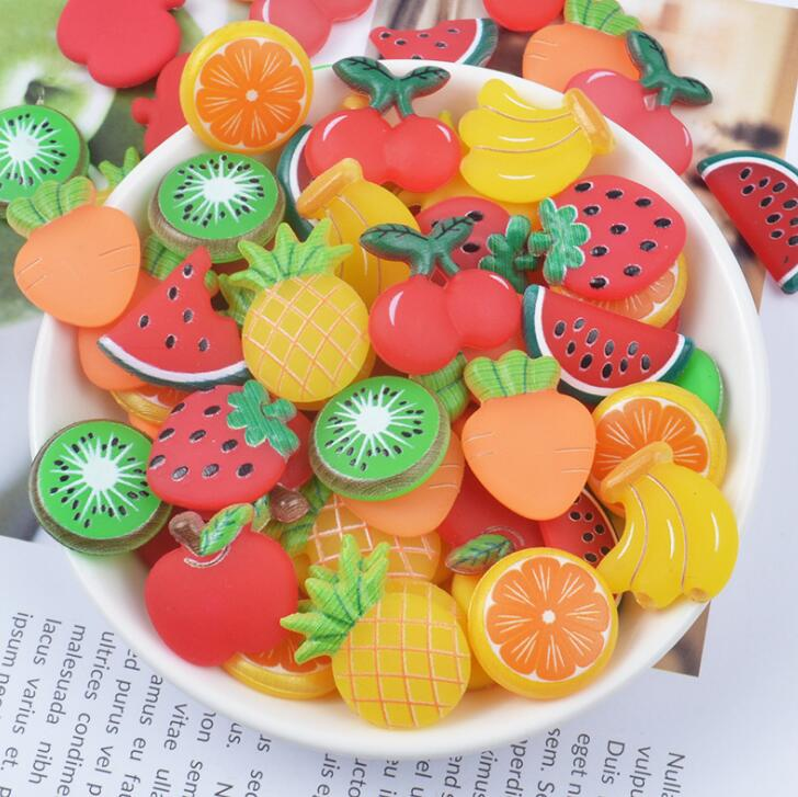 Parte trasera plana de frutas, sandía de resina, piña, lindas resinas, joyería DIY, pinzas para el pelo con lazo, accesorios, cabujones de resina para Decoración