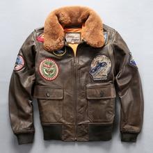 Lire Descriptif! Taille asiatique air force flight G1 pilote chaud col en fourrure veste en cuir de haute qualité véritable veste en cuir de vache