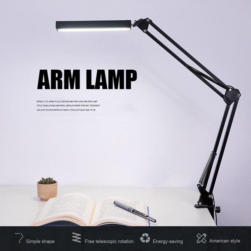 Lámpara ajustable para escritorio Lámpara de lectura brazo oscilante lámpara de escritorio abrazadera Flexible regulable lámpara de mesa de oficina