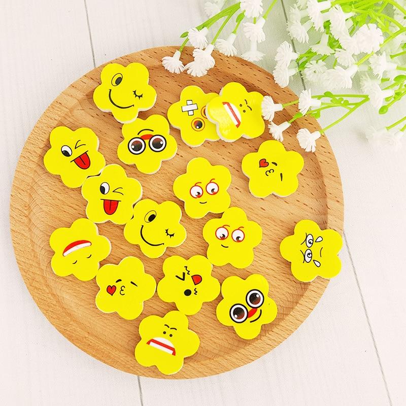 4X goma de borrar Kawaii con dibujos de flores amarillas, goma de borrar, papelería de goma Chico, juguete de regalo, pupilas lindas, papelería escolar y de oficina