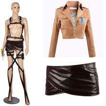 Cosfans nouvelle attaque sur Titan Cosplay Shingeki no Kyojin Mikasa Ackerman Cosplay Costume châle ceinture Costume cuir Shorts ensembles complets