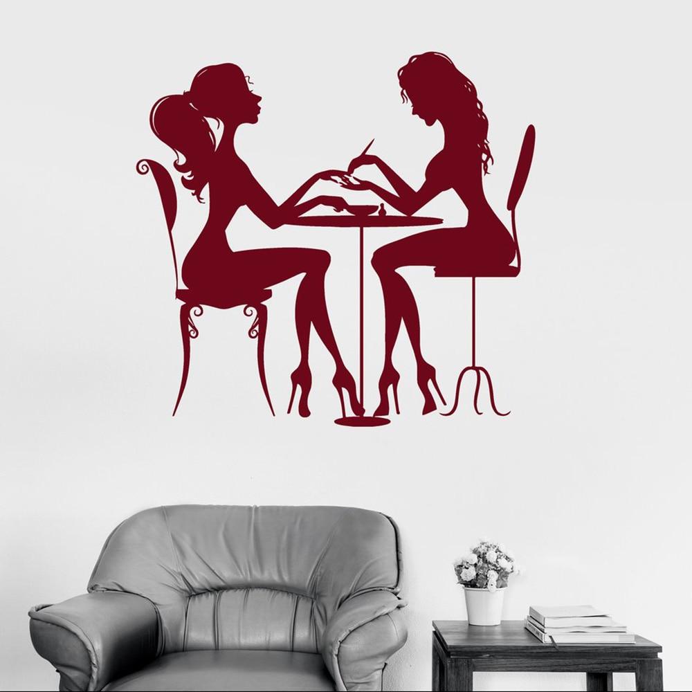 Quente salão de beleza prego adesivo arte da parede do cabelo spa para a mulher menina vinil decalque da parede diy papel alta qualidade adesivos muraux sa272