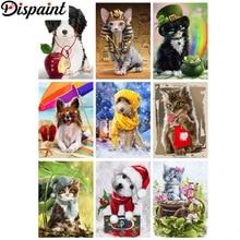 "Dispaint Diamond Embroidery DIY Diamond Painting Cross Stitch Kit ""Animal dog cat"" 5D Needlework Diamond Home Decoration"
