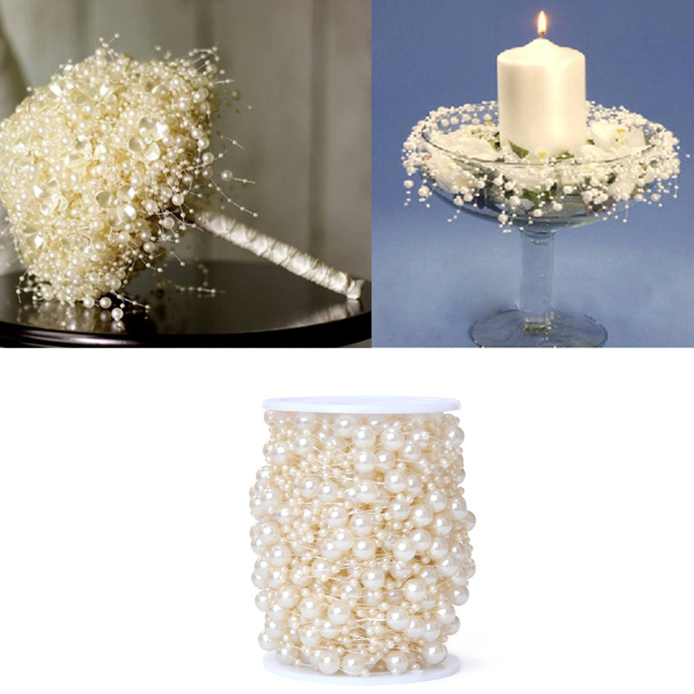 Imitation Pearl String 30m Package Fish Line Bead Chain Craft DIY Jewelry Accessories Festival Party Decoration Supplies