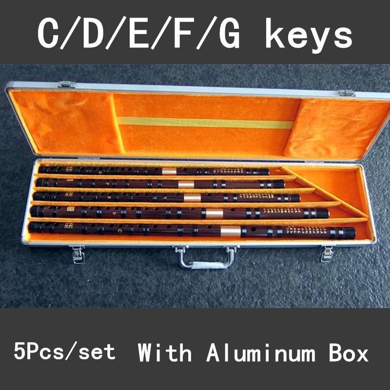 5Pcs/set Bamboo Flute Professional Woodwind Musical Instrument Chinese Dizi Transverse Flauta C/D/E/F/G With Aluminum Alloy Case enlarge