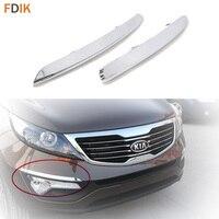 2pcs Mirror Chrome Front Bumper Fog Light Lamp Eyelid Eyeline Trim Cover Garnish for Kia Sportage R 2011-2015
