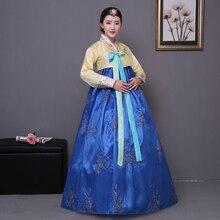 Broderie bleue coréenne robe traditionnelle rose femmes coton hanbok coréen costume national scène performance aisa vêtements