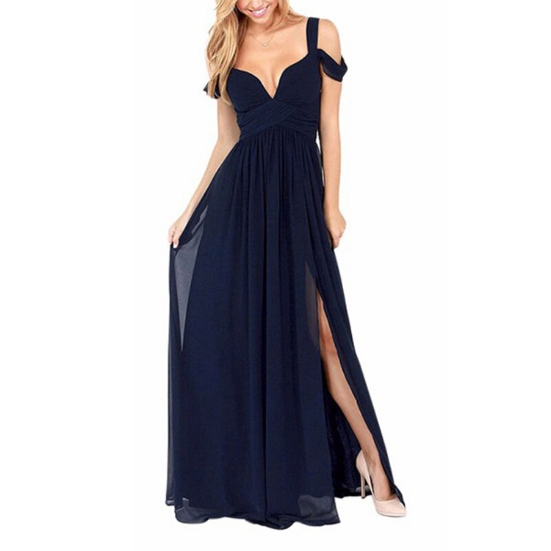 Hot Sale 2019 Fashion Sexy Women Dresses Summer Solid Chiffon Maxi Dress Deep-V Off Shoulder Party Bridesmaids Vestidos