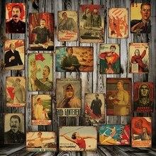 [ Mike86 ] Stalin Lenin Soviet Socialism Metal Sign  Pub Vintage Mural Rust Painting art Sticker Poster Art 20*30 CM LT-1748
