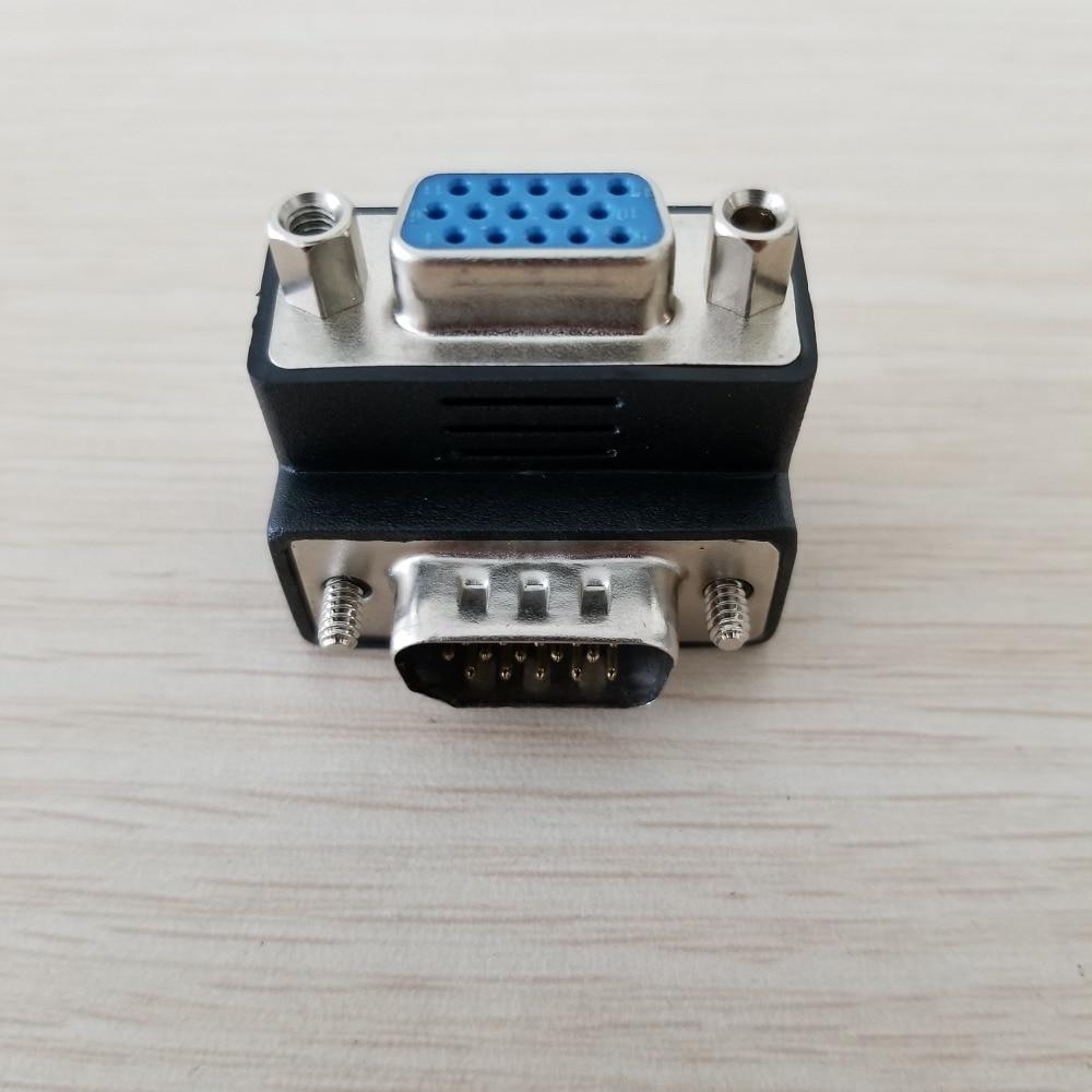 90 graus acima do ângulo 15pin vga svga adaptador plug hdb15 macho para conector fêmea para exibição de tv