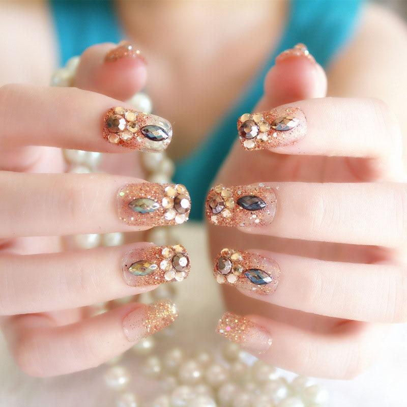 24pcs/Set Bright Powder Fashion False Nails Bridal Wedding Shining Rhinestone Nail Art Tips With Glue Bohemia Stlye Fake Nails