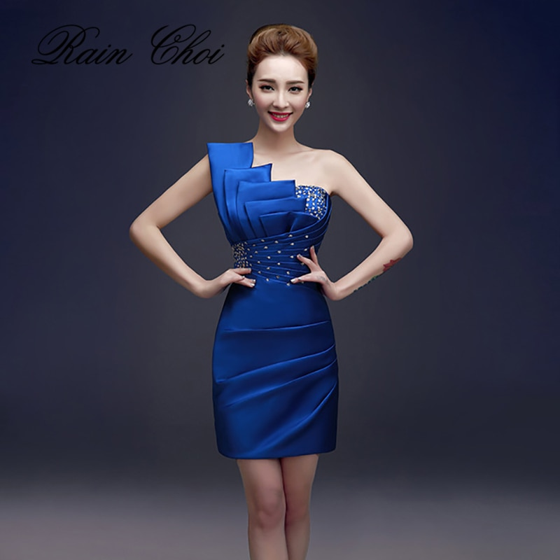 فستان سهرة ساتان ، فستان سهرة قصير ، مثير ، غير متماثل ، كتف عاري ، مطرز ، 2021