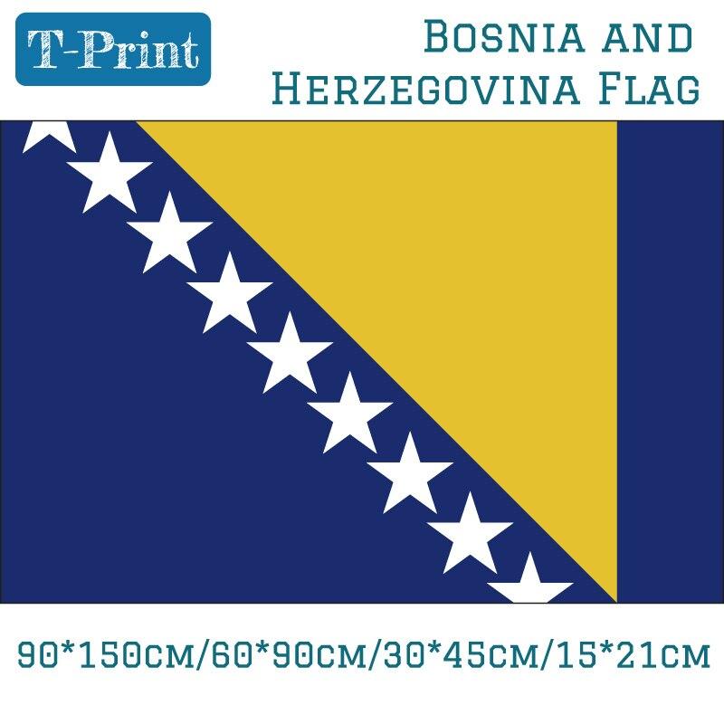 Bandera Nacional de bosnia-herzegovina 90*150 cm/60*90 cm/40*60 cm/15*21 cm para eventos/oficina/decoración del hogar