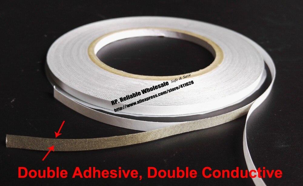 Cinta de tela conductora de 2 lados, 5 rollos (8mm * 20M), cinta conductora de 2 lados para Cable de PC y teléfono, mascarilla protectora EMI de ondas electromagnéticas