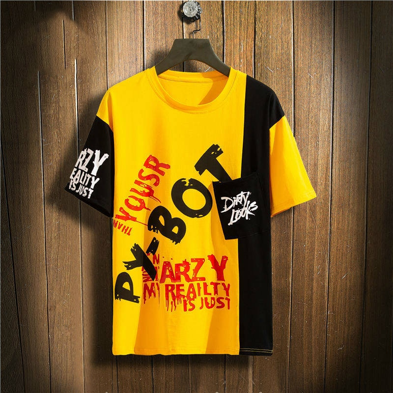 Short Sleeves Letter Print Tshirt Streetwear Cotton Harajuku T-shirt Male Casual Hip Hop Tshirt Funny Summer Tops Tee For Boys