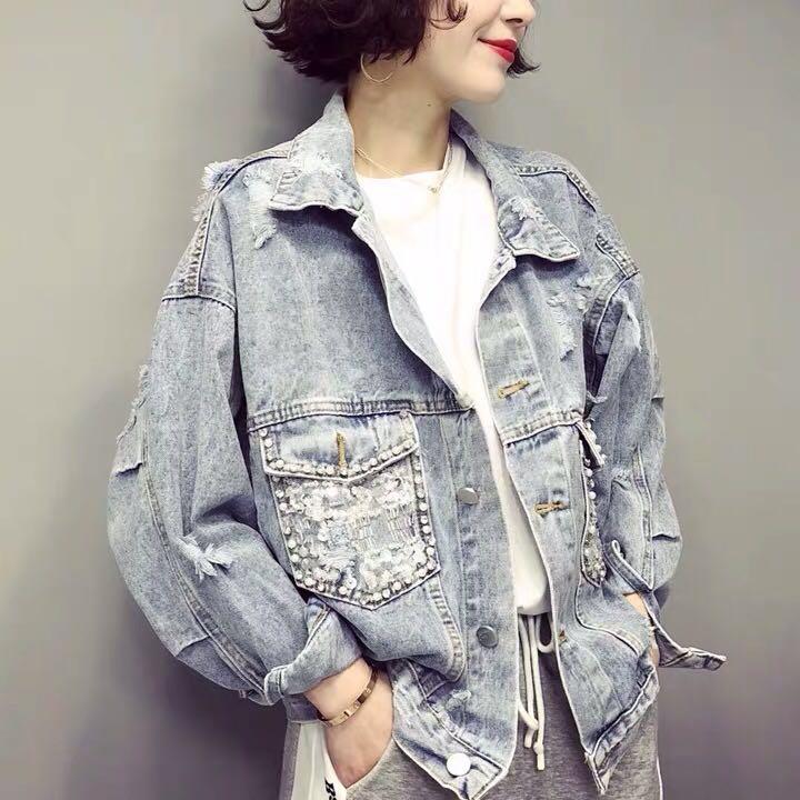YingYuanFang Short beaded denim jacket lapels worn sequin pocket