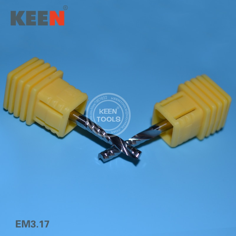 EM3.17mm(H2) أدوات قطع كربيد الصلبة ، واحد بت دوامة الناي ، بت النجارة ، النقش نحت MDF ، سبورة من البلاستيك الفينيلي ، الاكريليك