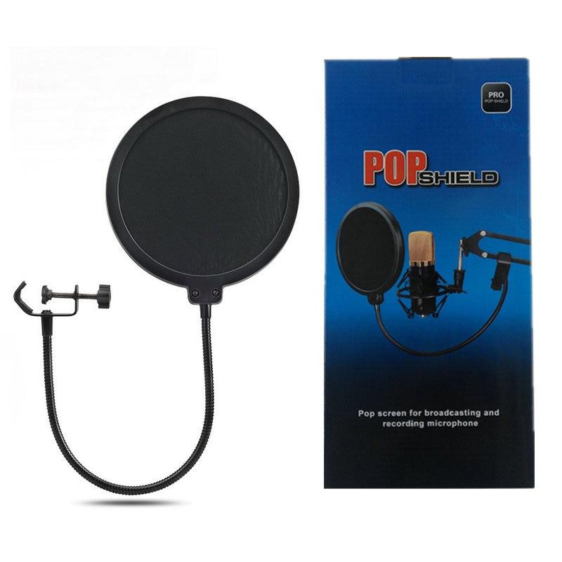 KEBTYVOR металлический поп-фильтр ветрозащитный экран двухслойный ветровое стекло попфильтр с микрофоном для студии говорящая запись