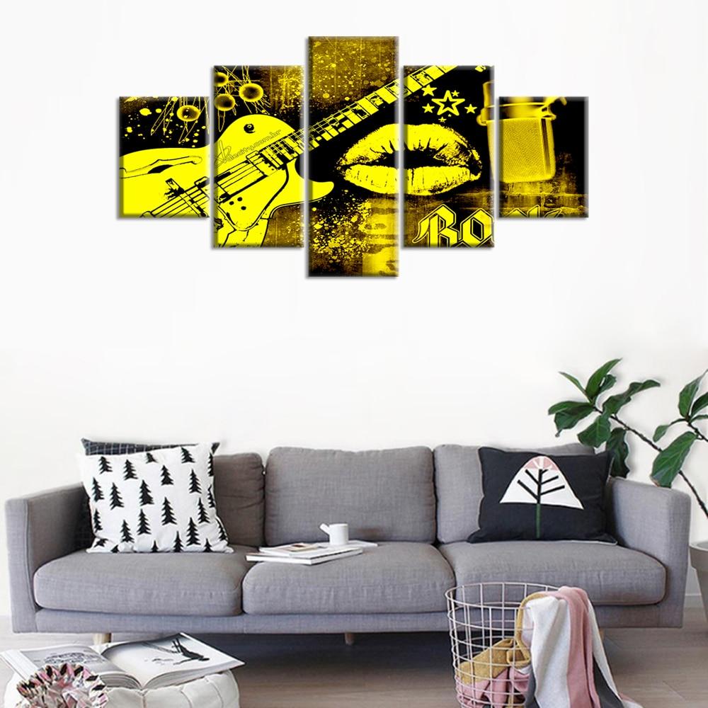 HD impreso 5 piezas lienzo arte guitarra pinturas boca beso pared imágenes música Modular cartel hogar decoración moderna