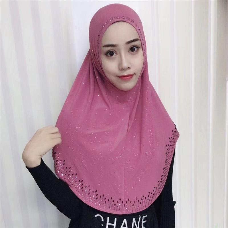 Véu muçulmano Ready To Wear Muslima Instantânea Strass Al-amira Hijab Islâmico Xale Headband Headwarp
