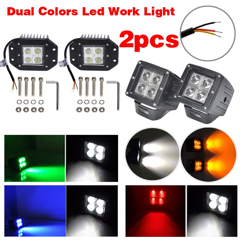 "2pcs 24W Dual Colors LED Work Light Spot Flood 3"" Cube Pods Flush Mount White & Amber, White & Green, White & Blue, White & Red"