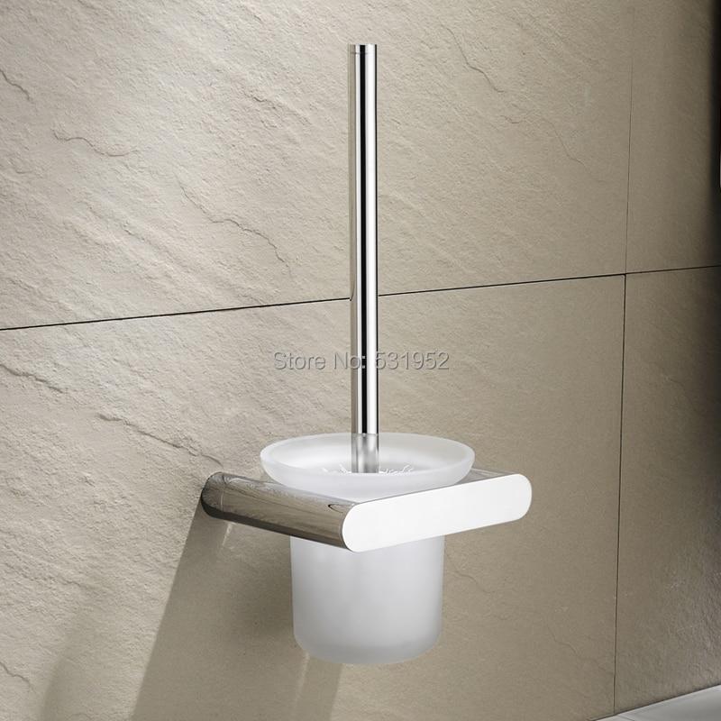 حامل فرشاة المرحاض مثبت على الحائط من الفولاذ المقاوم للصدأ ، مع حاوية زجاجية بلورية ، للحمام ، فرشاة المرحاض ومجموعة حامل