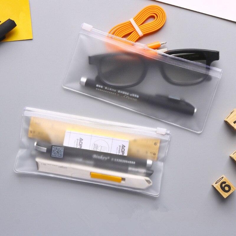 300 unids/lote, novedad, archivador de sobres esmerilado transparente de PVC, bolsa de plástico impermeable para bolígrafos, bolsa de ropa interior de 18cm x 8cm
