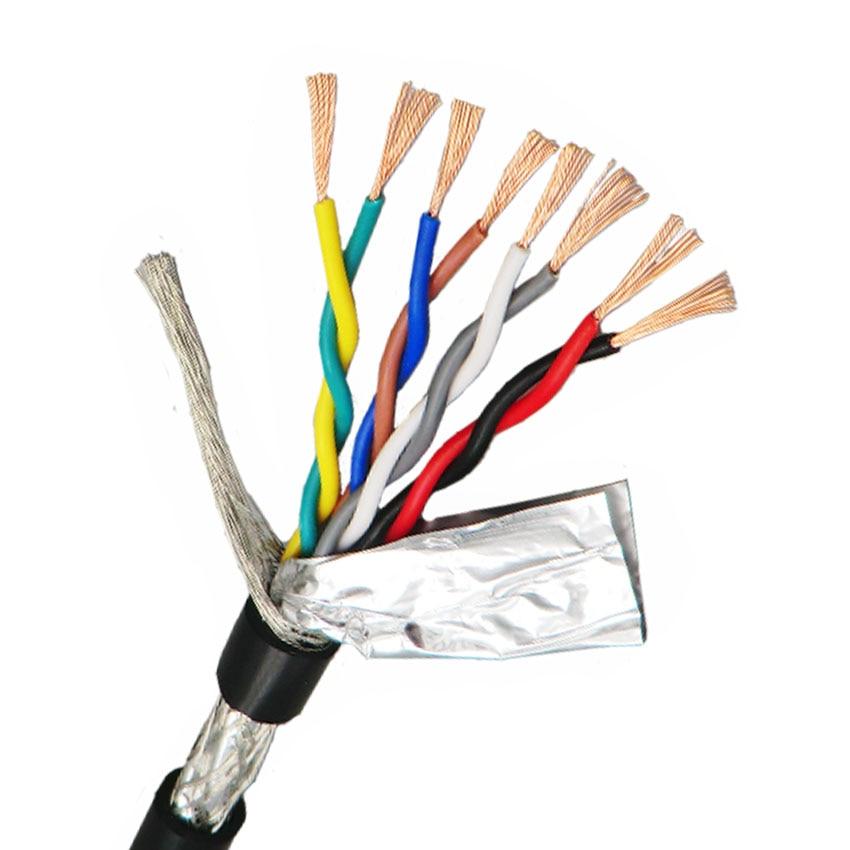 Cable de par trenzado blindado 0.5mm ² 4,6, 8 núcleos con doble escudo de cobre libre de oxígeno puro 485 Cable de control de señal 20AWG