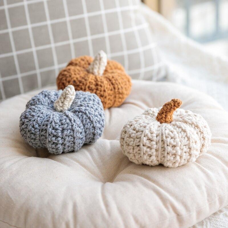 Cute Pumpkin Vintage Home Decoration Accessories Cotton Crochet Plant Baby Children Bed Room Decor Display Figurines Photo Shot