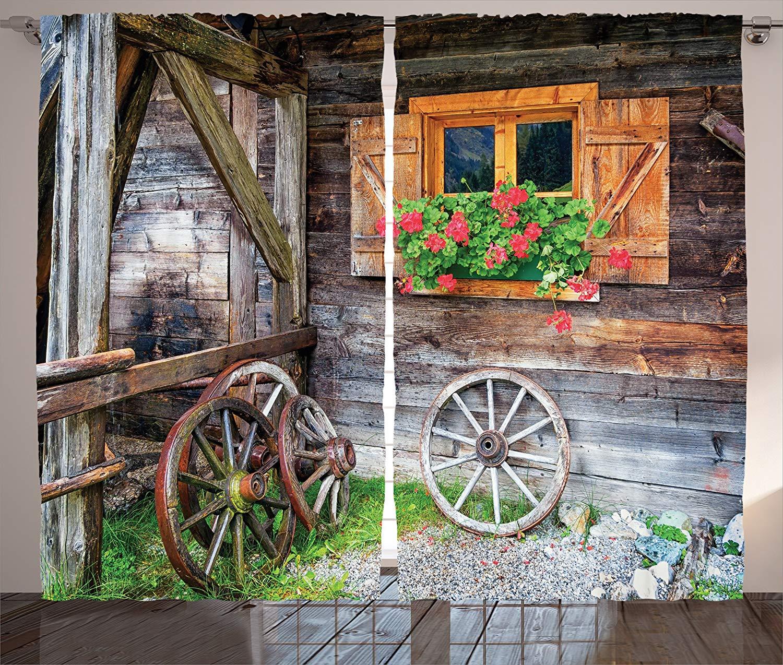 Жалюзи Декор занавески выветривание старого окна с цветами в горшке колеса фермерский дом сельская сцена вид спереди гостиная спальня