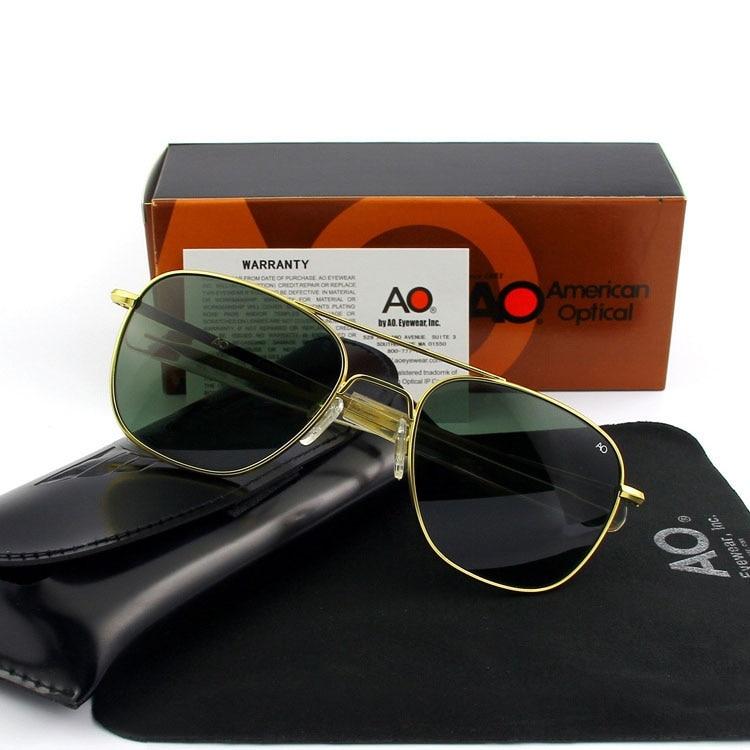 Óculos de sol piloto dos homens lente de vidro temperado qualidade superior marca designer ao óculos de sol masculino exército americano militar ótico yq1003