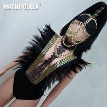 Nero Piuma di Halloween Trascinare Queen Costumi Olografica Della Tuta Della Tuta Cantante Stage Show Runway Delle Donne Del Vestito Del Partito di Usura