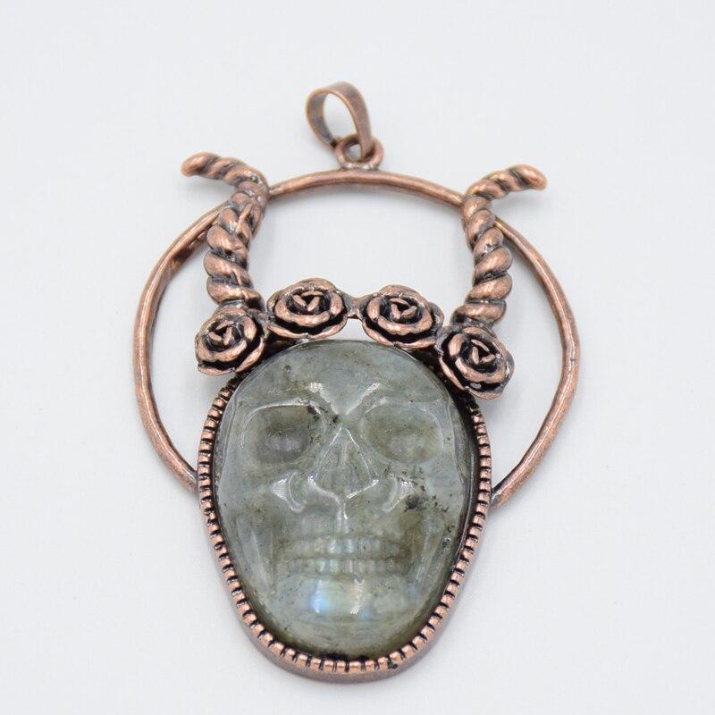 Vintage Antique Copper Bronze Natural Labradorite Stone Sheep Head Skeleton Evil Punk Charms Women Men Necklace Pendants Jewelry